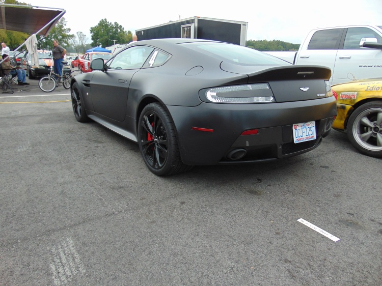 This matte black Aston Martin stood out in the crowd.