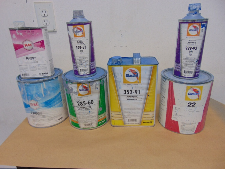 Glasurit paint products required to paint the car