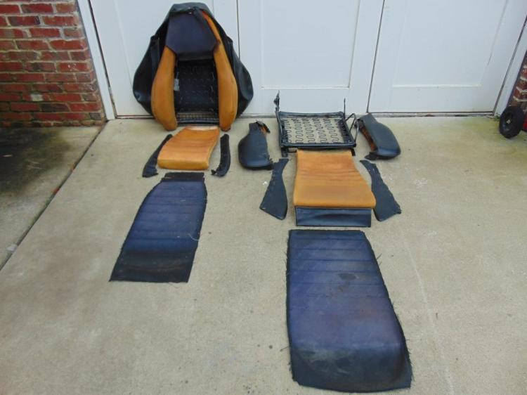Components of the seat laid out after dis-assembly. Note the cloth was actually black where not exposed to the sun.