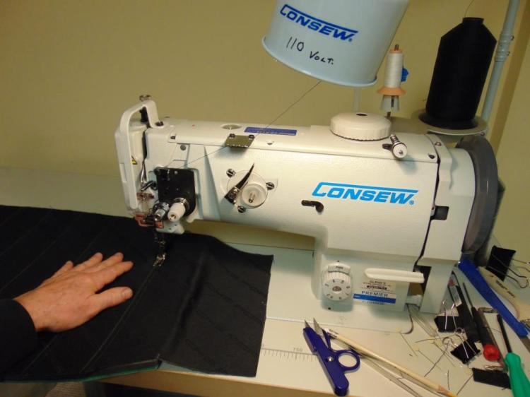 Here I am getting ready to make the first of many horizontal stitches.